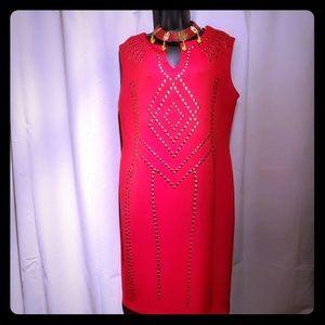 Size 16W, beautiful sleeveless red dress!